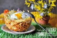 Recette Paques - Nid de Paques pommes paille et œuf poché chez Kaderick en Kuizinn