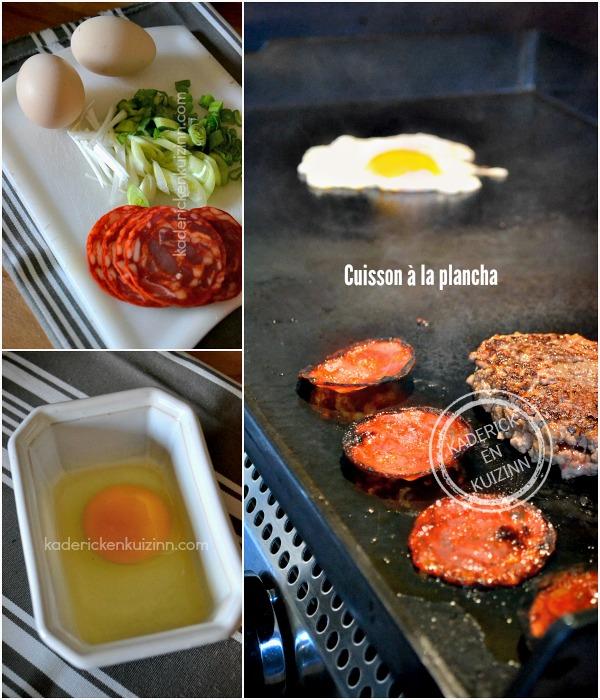 Cuisson steak plancha - Steak à cheval cuisson œuf plancha chez Kaderick en Kuizinn