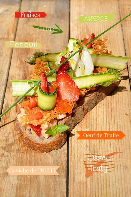 Dégustation tartine au ceviche de truite tuile d'Ossau-Iraty et légumes crus