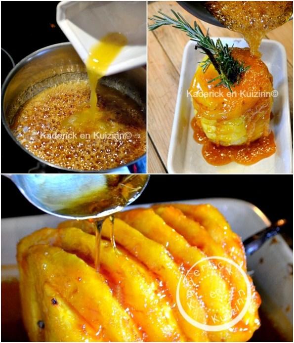 Préparation ananas roti - Ananas roti entier four caramel vanille chez Kaderick en Kuizinn©