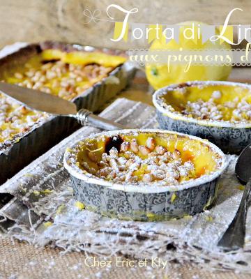 Ricetta torta limone - Recette tarte citron et pignons de pin chez Kaderick
