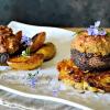 Recette champignons farcis veau jambon et rostis plancha Eno chez Kaderick en Kuizinn