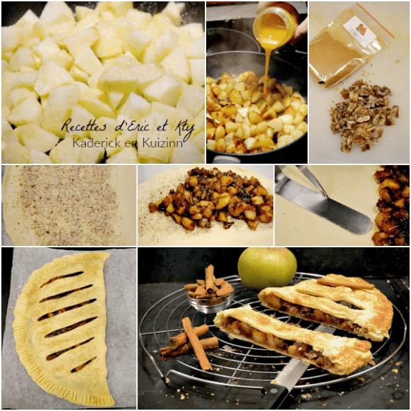 Préparation chausson aux pommes caramélisées marrons glacés chez Kaderick