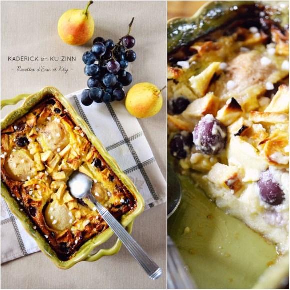Clafoutis aux pommes poires raisins à la vanille