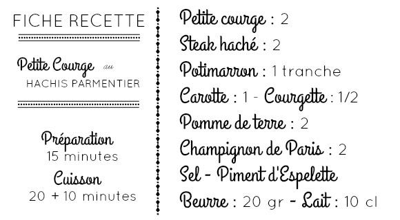 Fiche recette ingrédients courge potimarron carotte steak haché