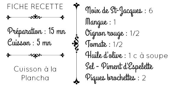 Fiche recette ingrédients noix st jacques mangue et salsa
