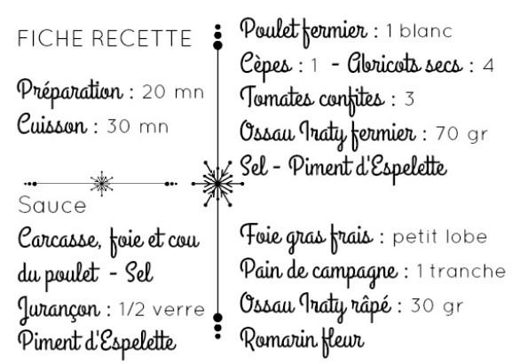 Fiche recette ingrédients poulet farci Ossau Iraty et foie gras frais
