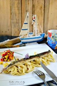 Filet d'omble chevalier plancha tagliatelles fraîches et salsa mangue