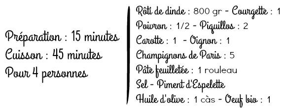 Liste ingrédients roti dinde en croûte feuilletée petits légumes