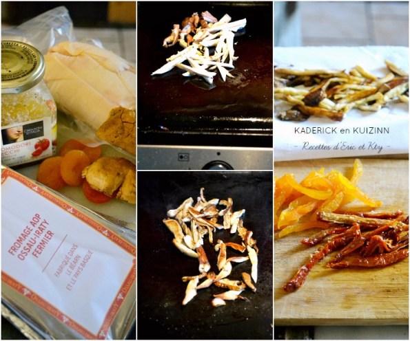 Ingrédients farce cèpes, abricots, tomates confites et Ossau Iraty