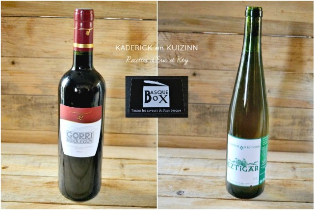 Basque box bouteille de vin rouge et bouteille de cidre