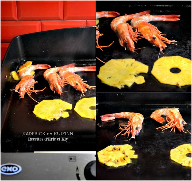 Cuisson plancha crevettes sauvages tranches ananas victoria