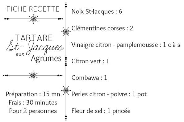 Fiche recette tartare st jacques clémentines corses vinaigre agrumes perles citron poivre