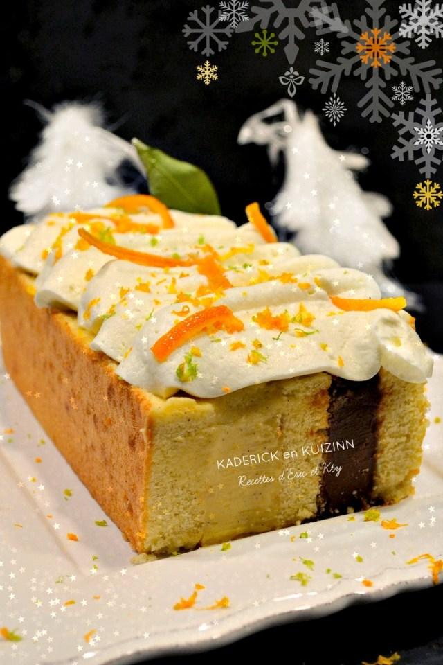 Gâteau de Fêtes vanille tonka chocolat chantilly oranges confites