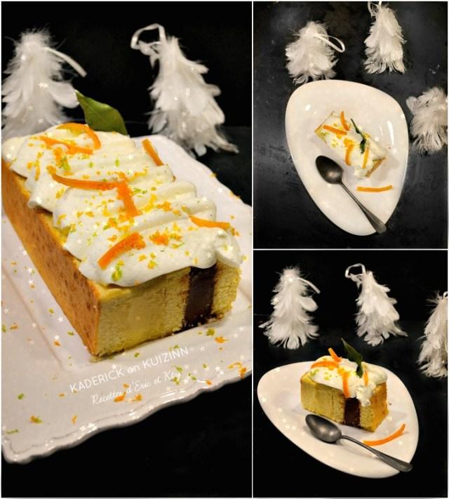 Gâteau de Fêtes vanille tonka chocolat gianduja chantilly oranges confites