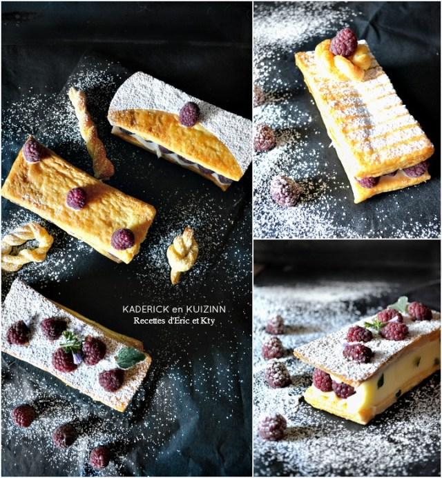 Mille feuille individuel framboises crème vanille et sucre glace