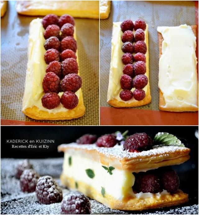 Montage mille feuille framboises fraîches et crème vanille