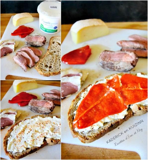 Que faire : Pain campagne faisselle pimento magret canard et séché au fromage