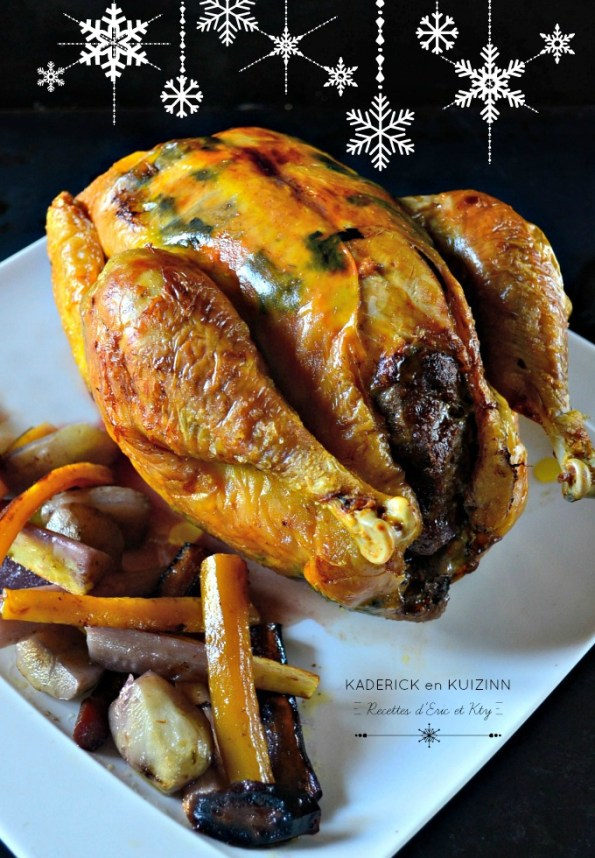 Poularde Noël farcie foie gras trompette de la mort et légumes