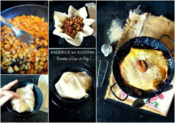 Préparation cuisson pastilla pommes caramélisées marrons glacés