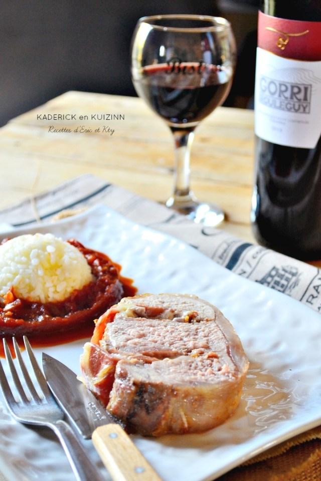 Rôti de porc basque Ossau Iraty jambon Bayonne et piperade