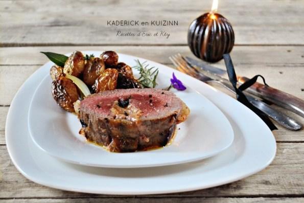 Roti de boeuf farci foie gras canard et grenaille