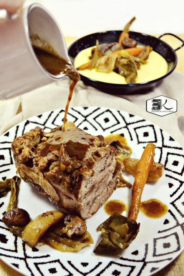 Rôti veau façon navarin sauce cidre polenta et légumes - Kaderick