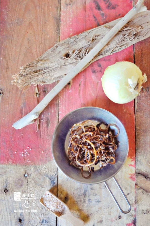 Oignons frits rondelles huile olive - Kaderick en Kuizinn