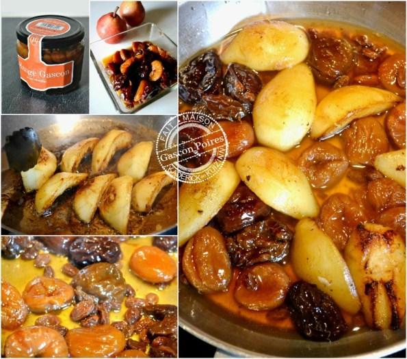 cuisson poires sautées et mélange gascon au monbazillac