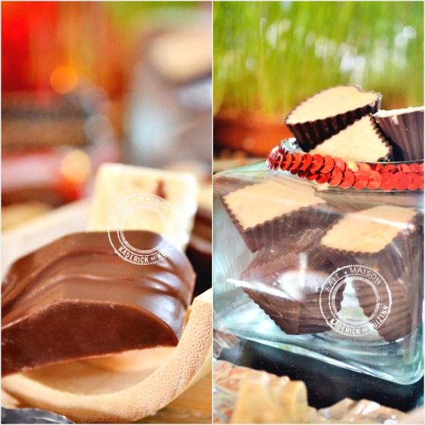 Chocolats de Noël au lait ou blanc et éclats de spéculoos