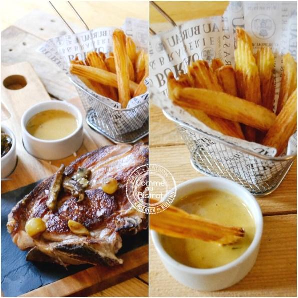 Presentation côte veau sauce safran moutarde frites bistrot