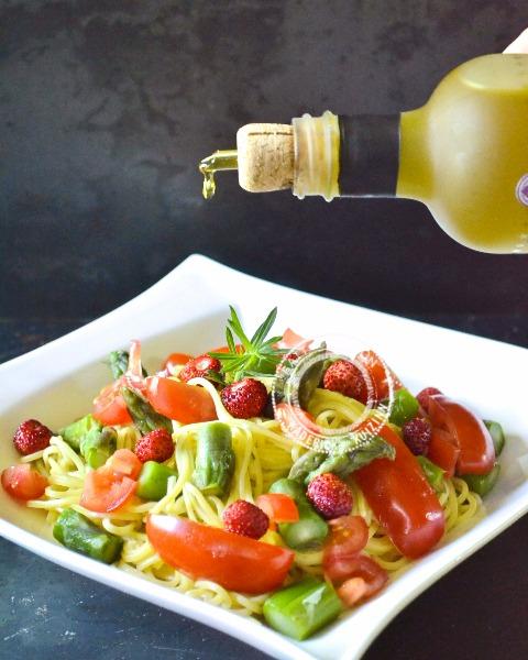 Pates fraiches spaghetti légumes et huile olive Alziari - image a la une
