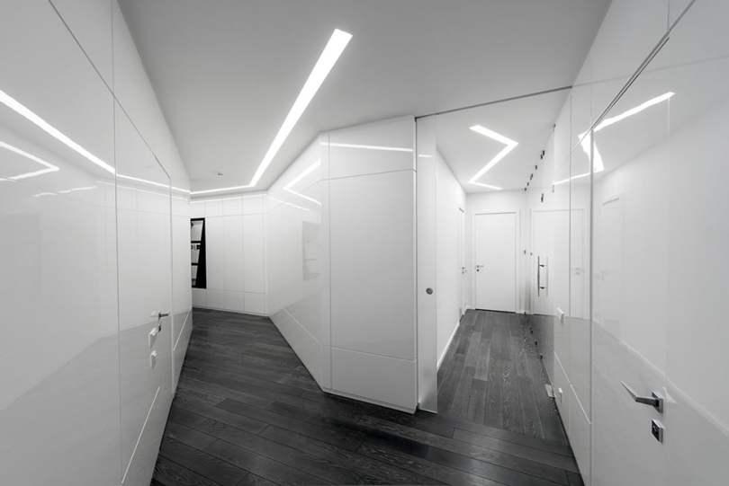Modern Interior Design in Black and White, Geometrix Design, Moscow, Contemporary Interior, Interior Design Ideas, Futuristic Interior Design,