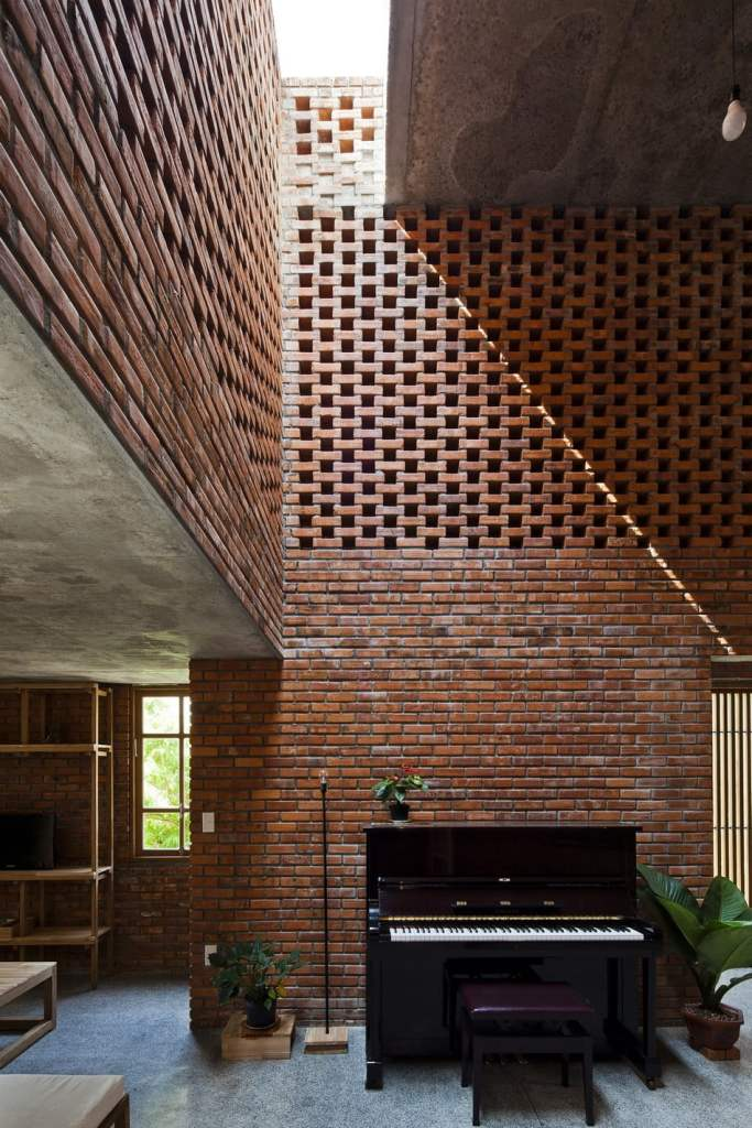 exposed brickwork construction in Termitary House,