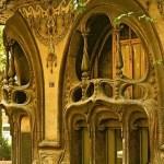 art nouveau architecture of balcony,