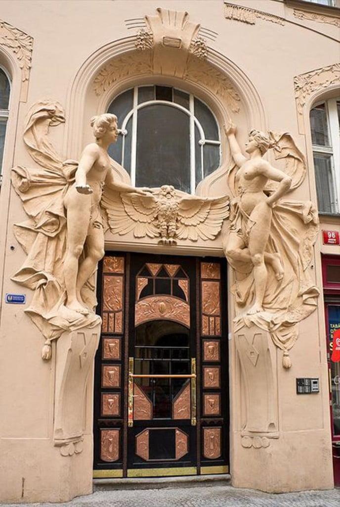 main gate design with art nouveau art style,