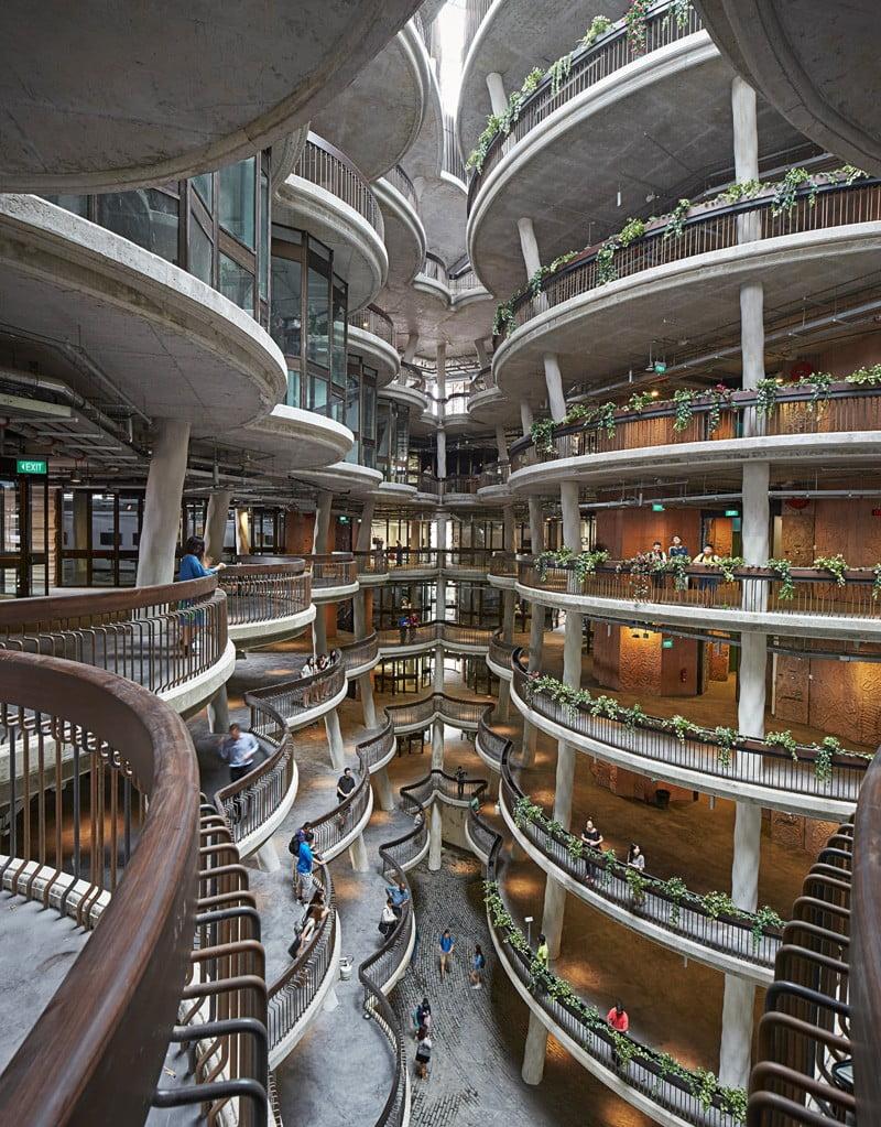 hub, ntu, singapore, architecture of hub building, hub building design,
