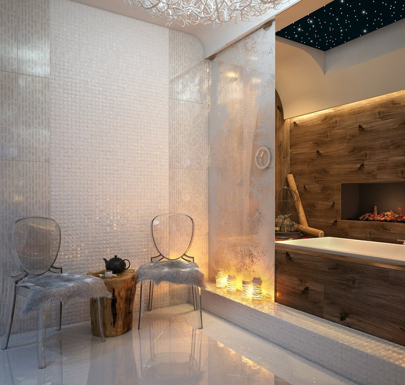 cool bathrooms with transparent chairs and fur are symbols of luxury