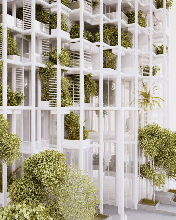 in order to introduce a degree of flexibility, the tower is divided into separate elements