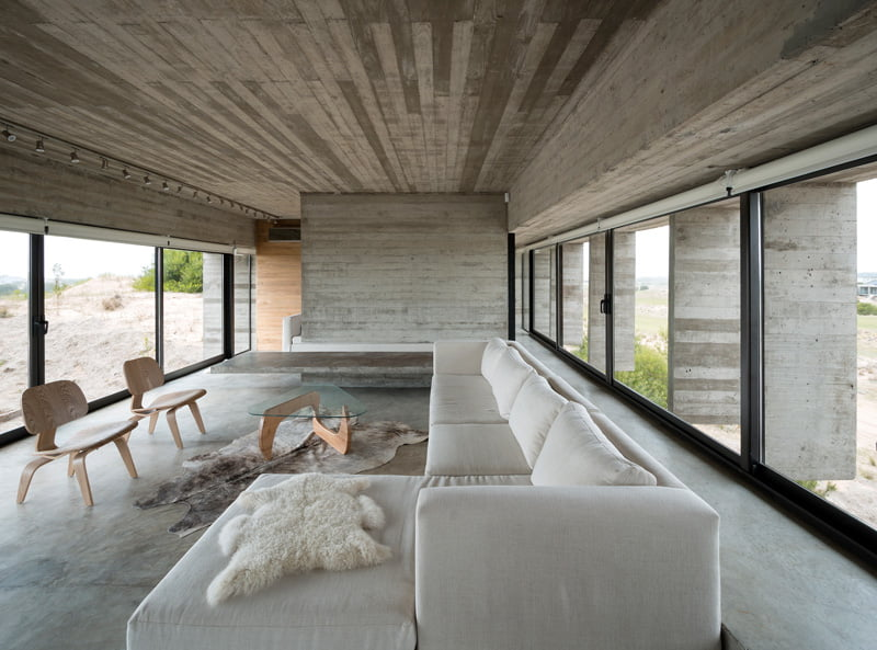 exposed concrete modern house living room interior space