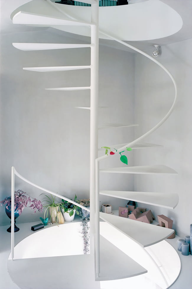 pure-white-colored-spiral-staircase