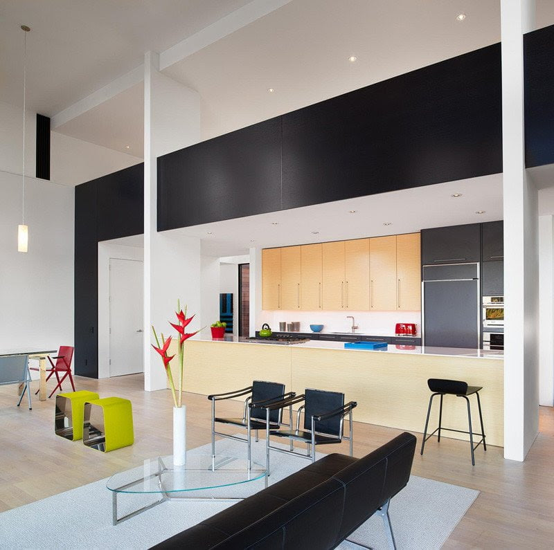 contemporary color combination in living and kitchen area