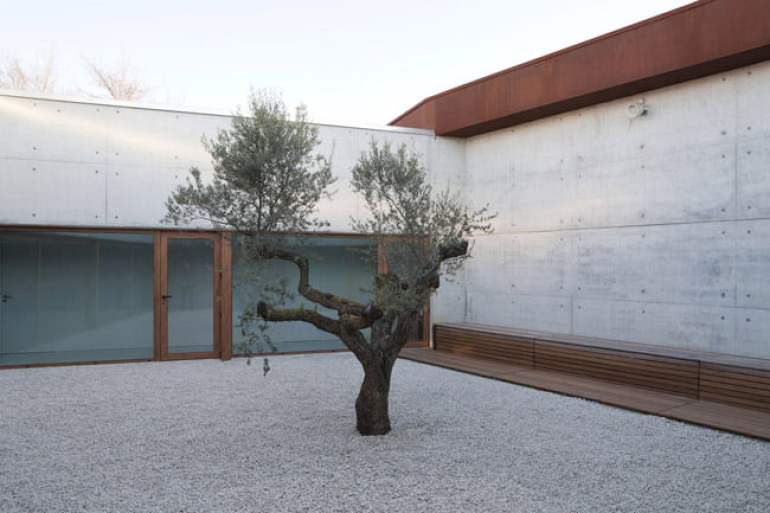 home for the elderly courtyard with exposed concrete and wood finish