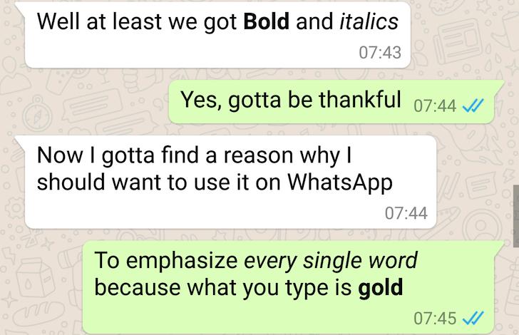 BOLD Added in Whatsapp,