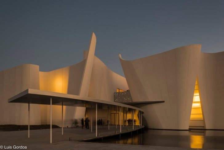 Intl. Baroque Art Museum Architecture by Toyo Ito in Mexico in night lighting