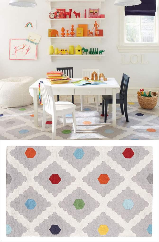 Rainbow dots bedroom rugs for boys and girls