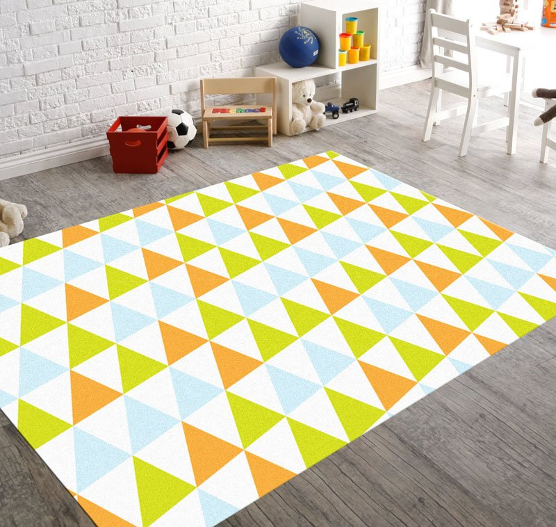 colorful bold geometric pattern rugs for kids