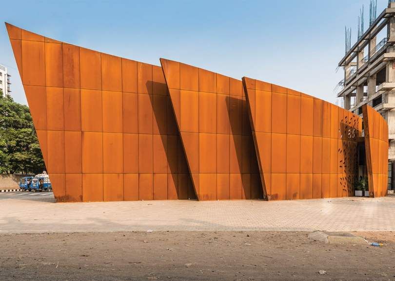 Crescent was designed by Sanjay Puri Architects in rough steel cladding