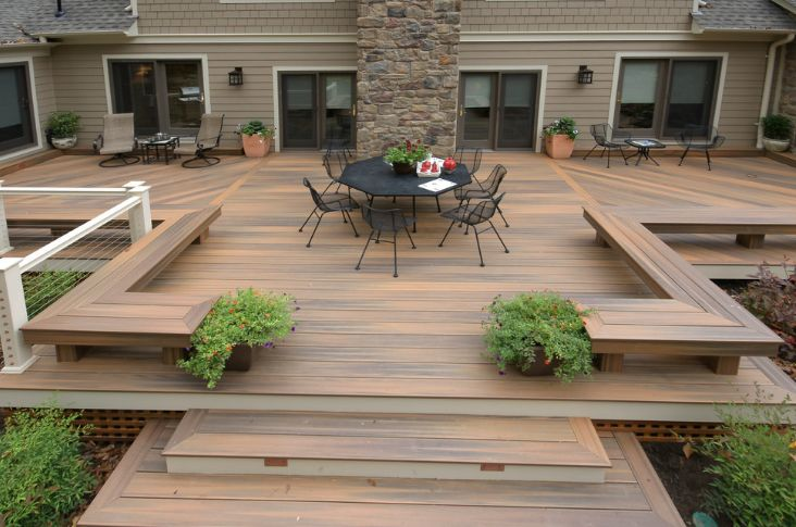 Large backyard outdoor deck flooring and seating design