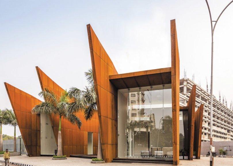 steel clad office front elevation design, site office,